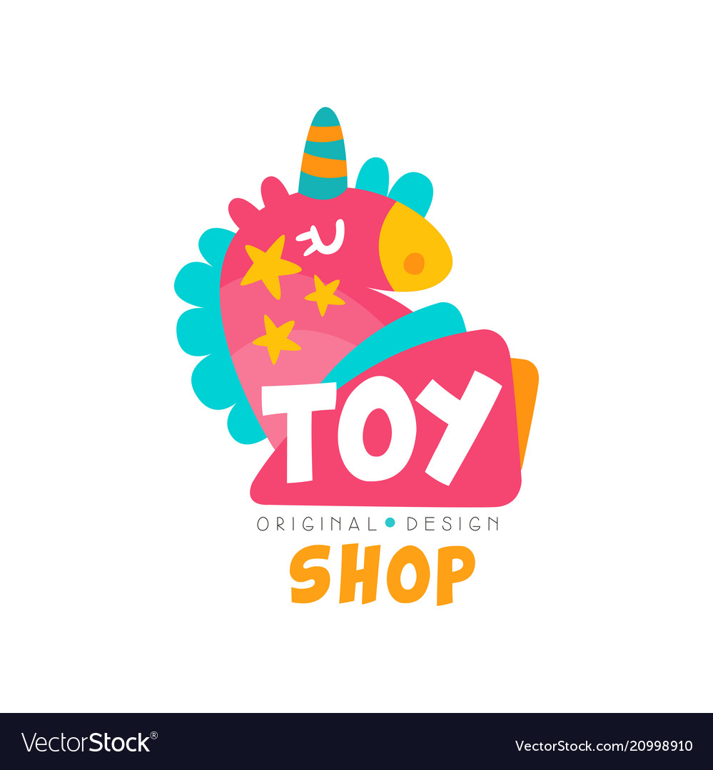 Toy shop logo design template kids store baby