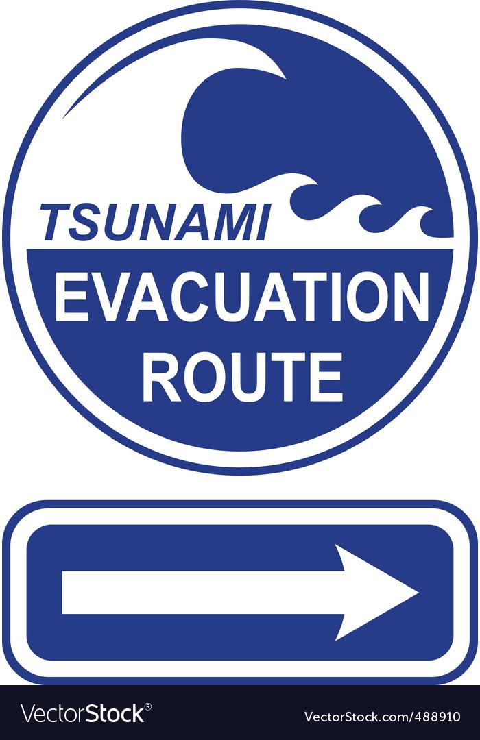 tsunami evacuation route sign royalty free vector image