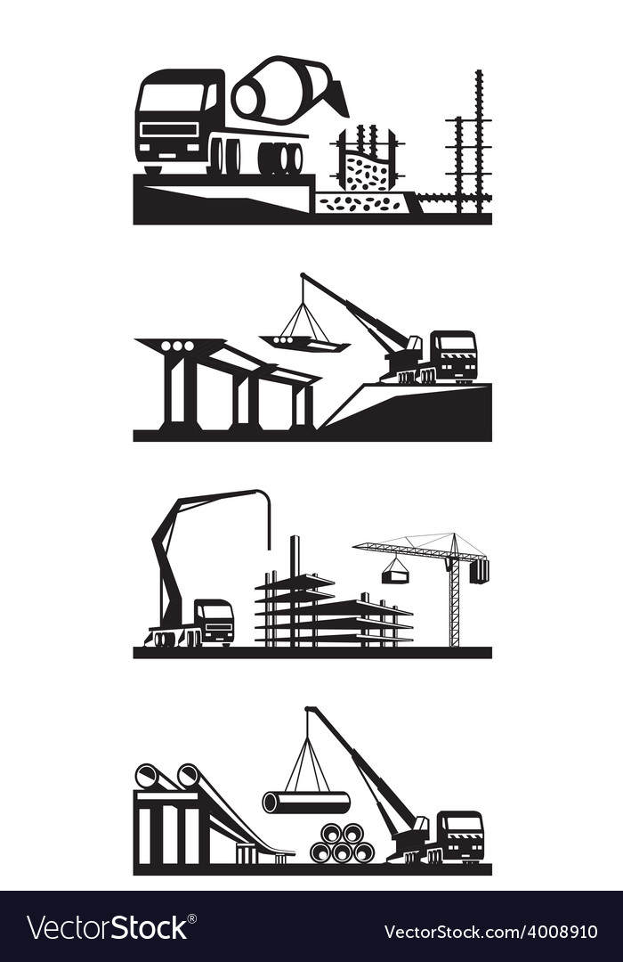Various types of construction scenes