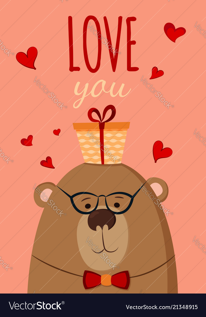 Bear with present postcard love you