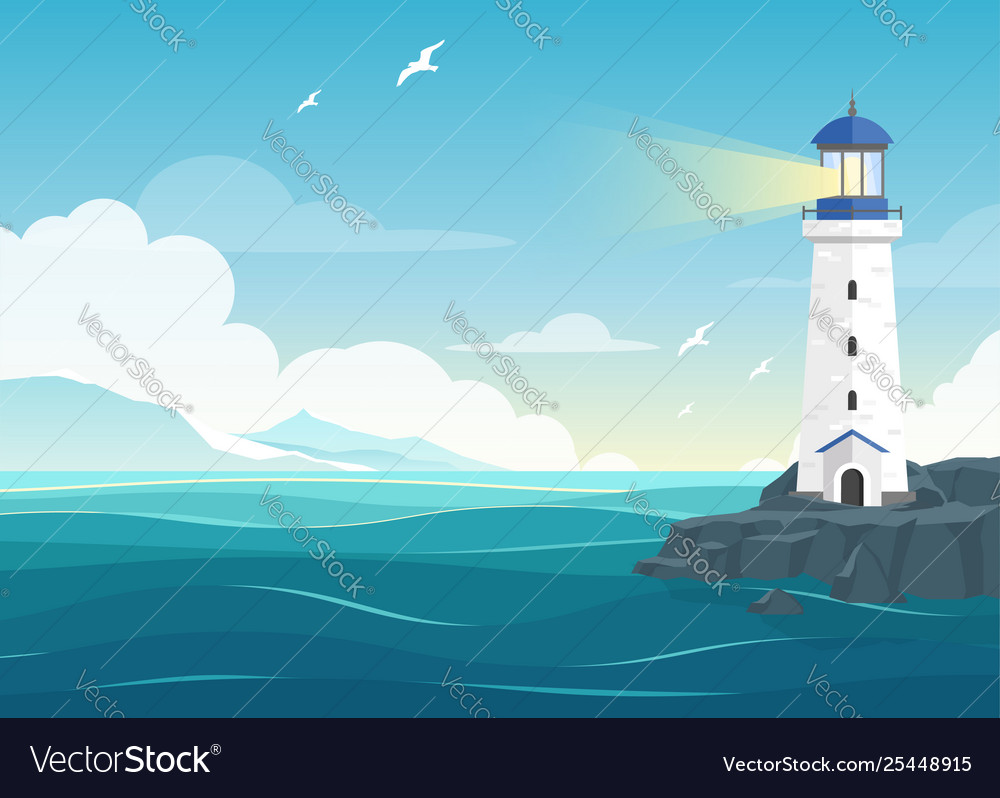 Blue sea background with lighthouse and mountains vector