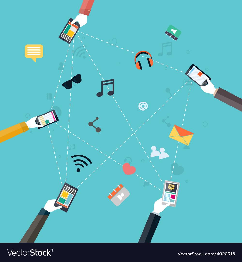 Flat design concept for mobile apps