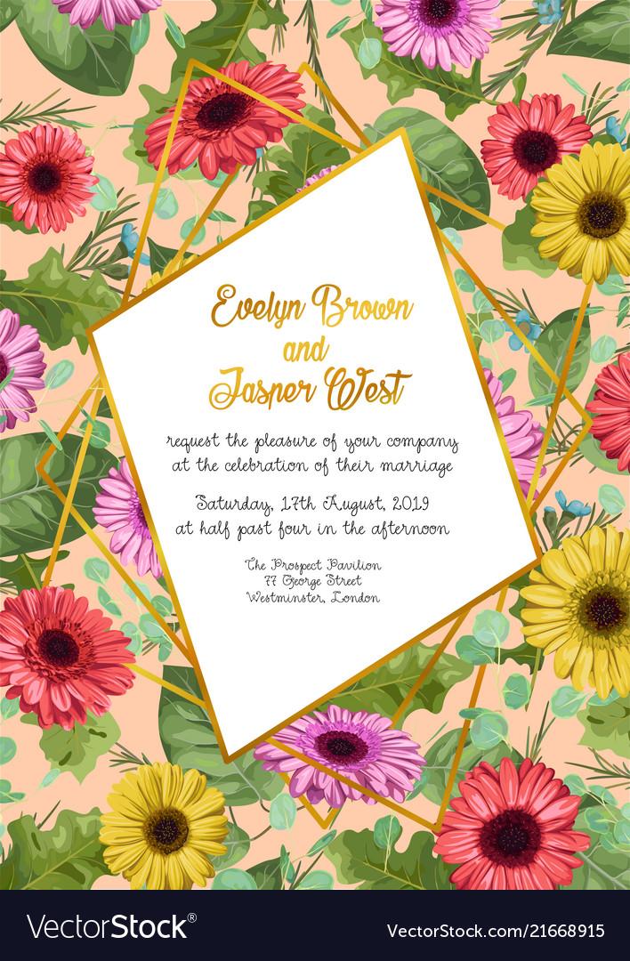 Floral frame wedding invitation card greeting