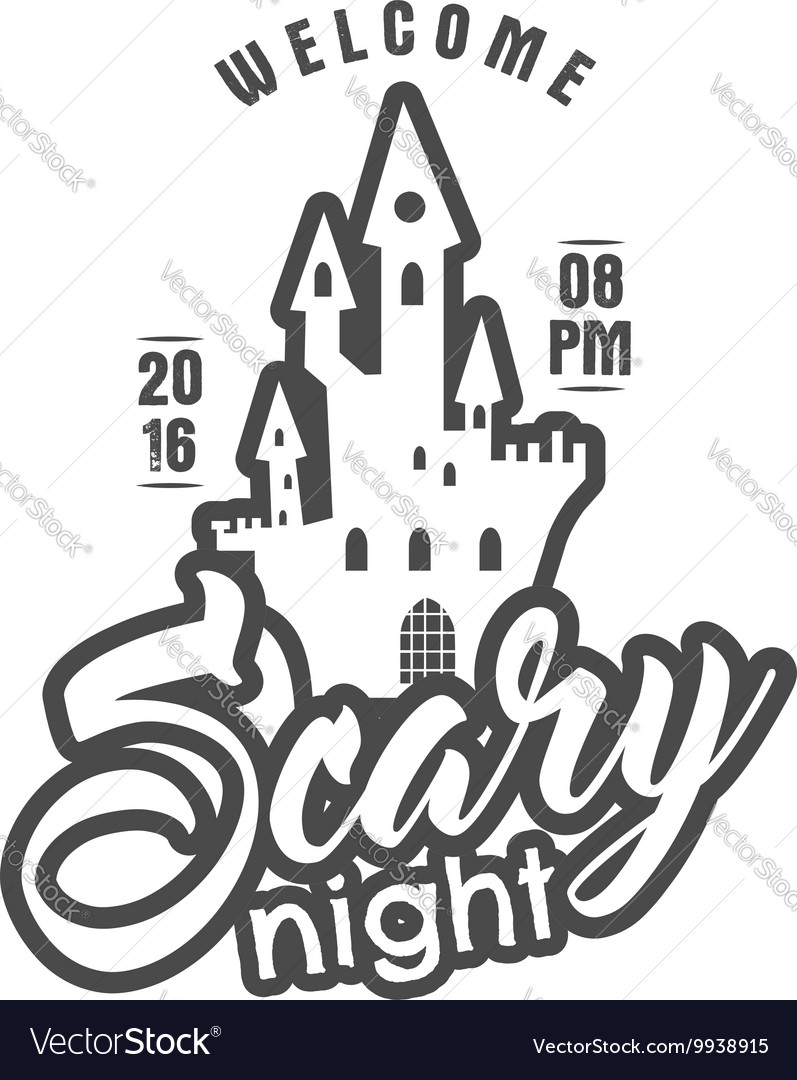 Halloween 2016 party label template with holiday vector image