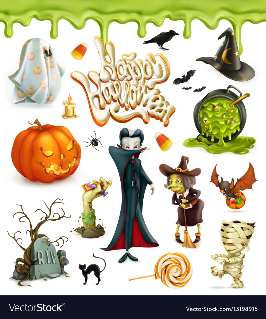 Halloween 3d icons Pumpkin ghost spider witch