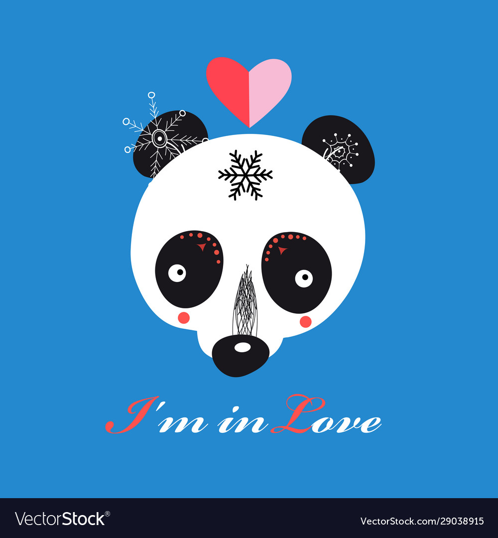 Llustration funny loving teddy bear panda