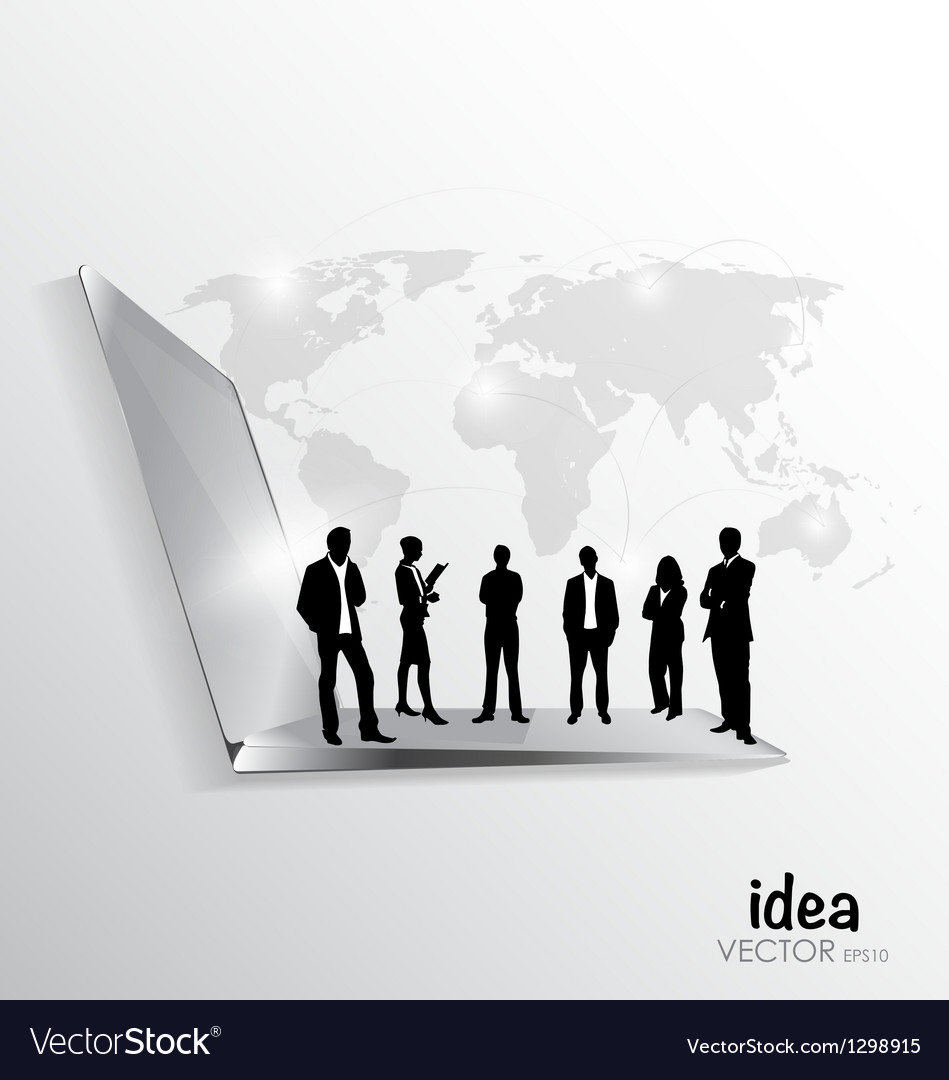 Modern technology thin laptop with a group of busi vector image