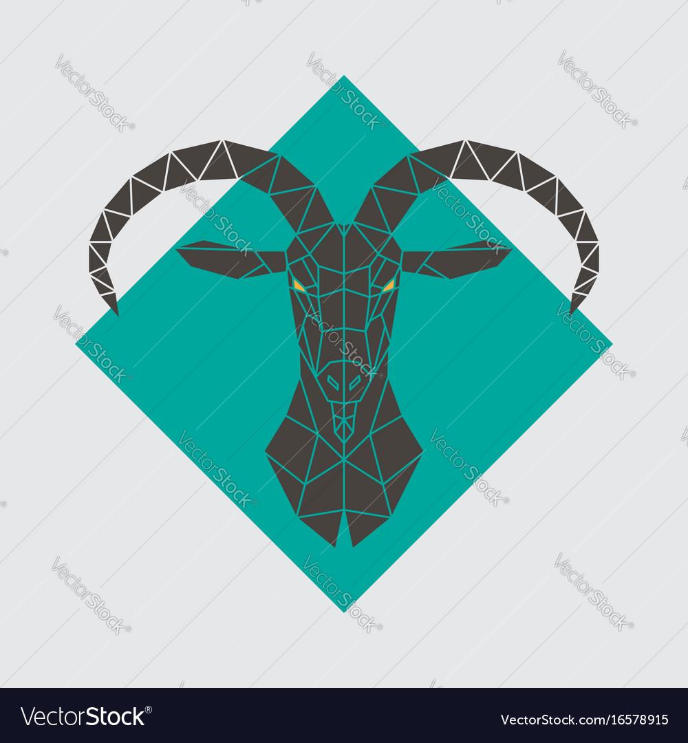 Mountain goat polygonal head