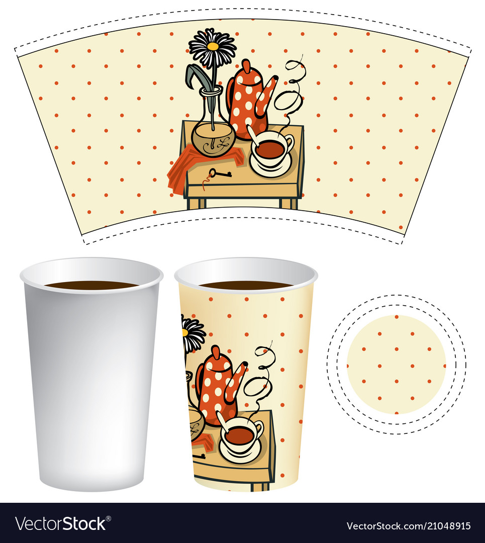 Paper cup for hot drink with doodle still life