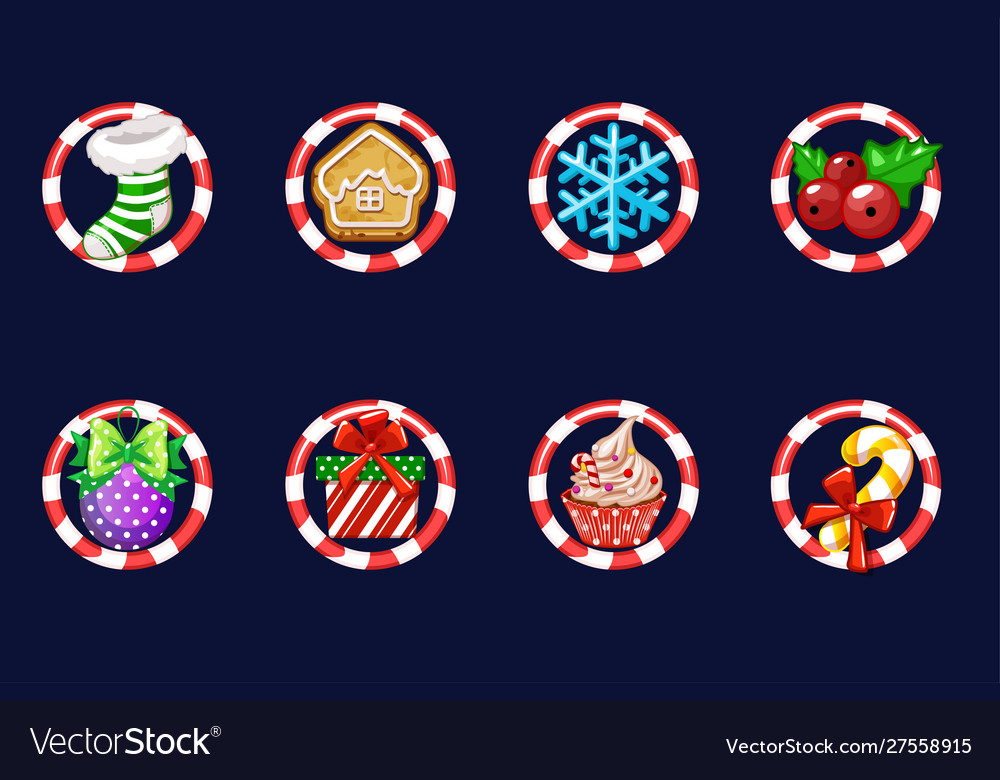 Set christmas icons new year decoration vector