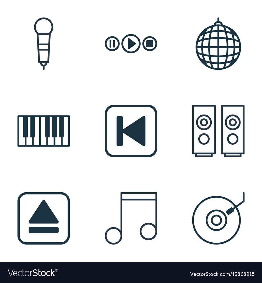 Set of 9 multimedia icons includes extract device