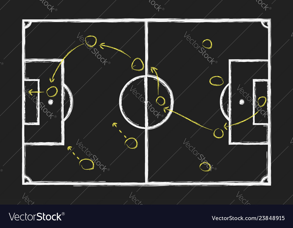 Soccer or game strategy chalk hand drawing