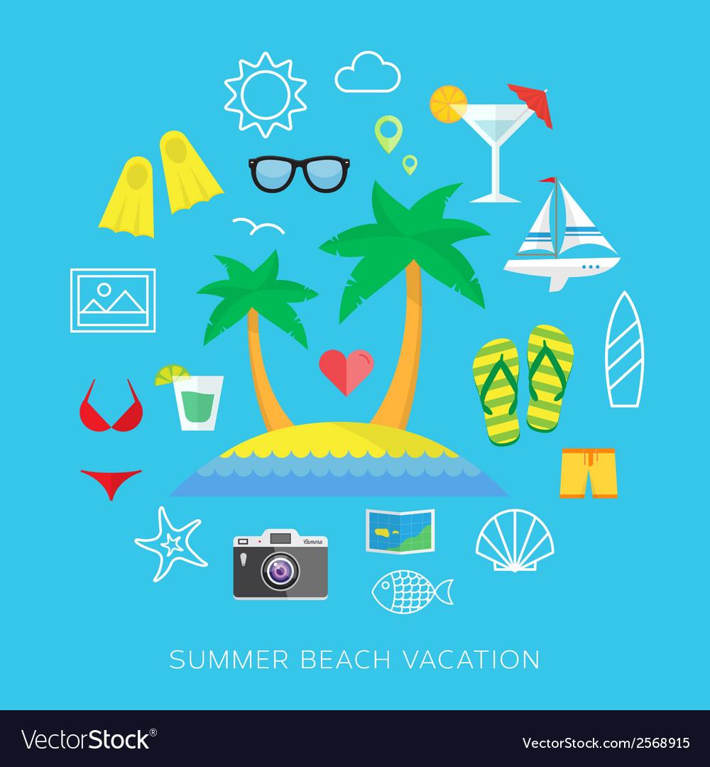 Summer vacation flat icon set