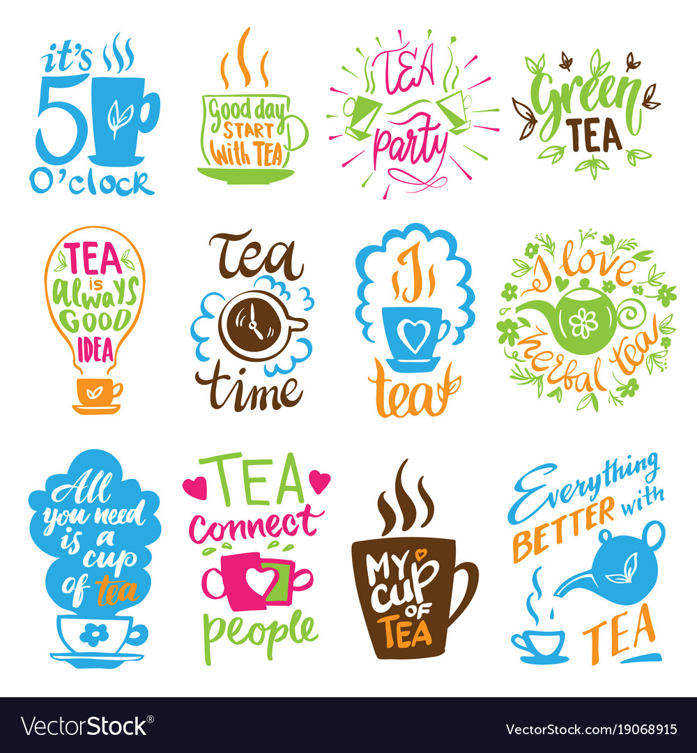 Teatime quote set lettering cup of tea