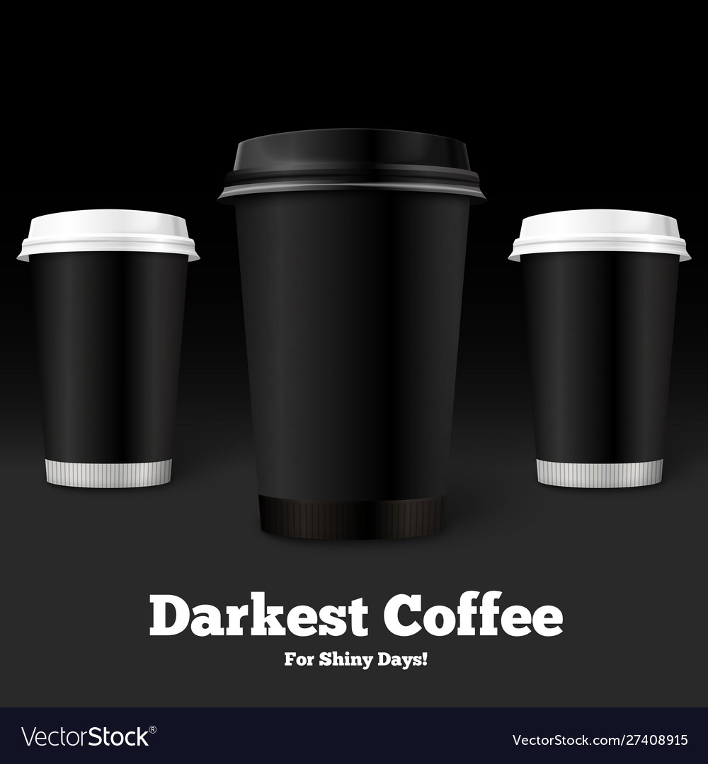 Template coffee cups on black background