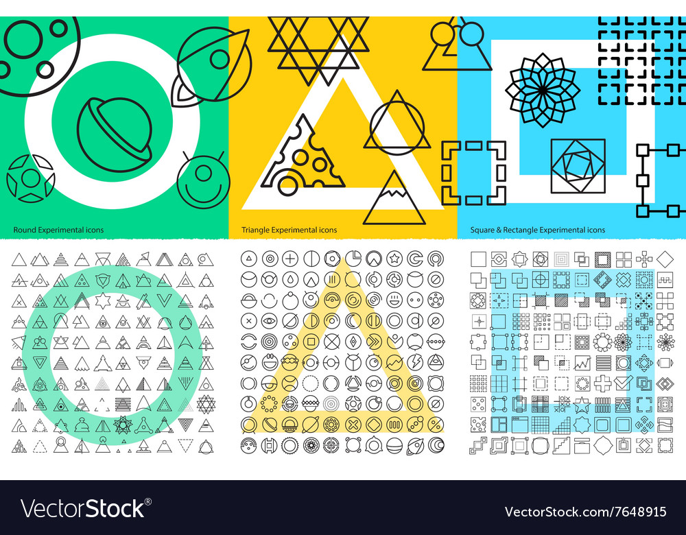 XXL set of abstract geometric linear icons for
