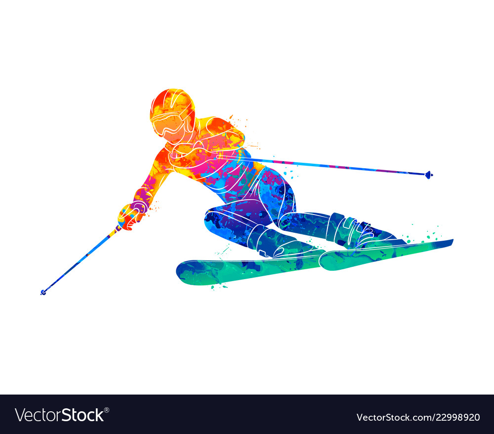 Abstract skiing descent giant slalom skier from