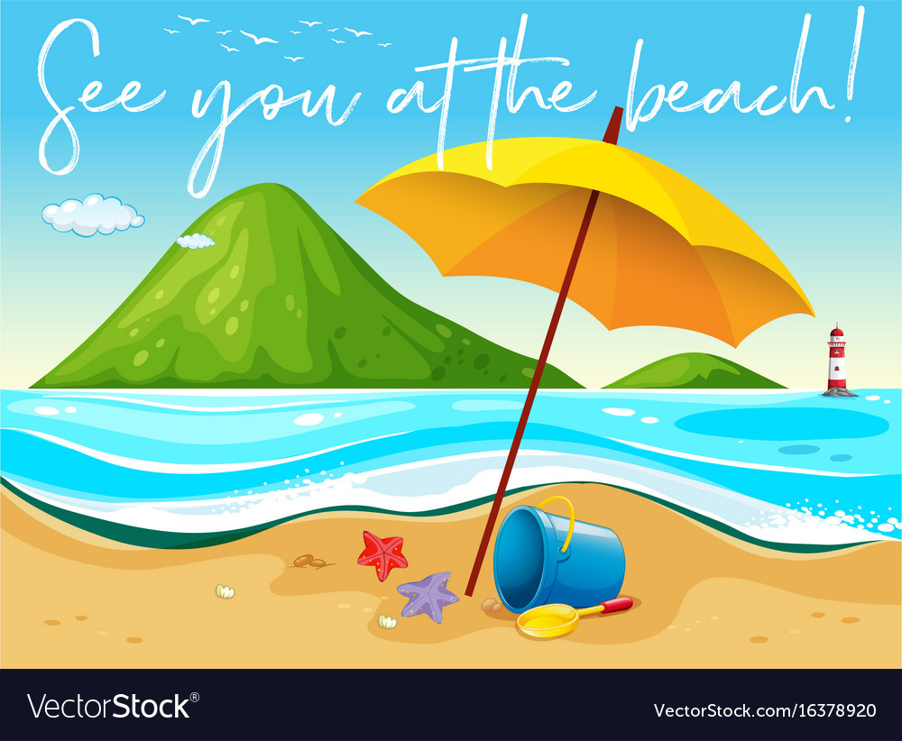 Beach scene with word see you at the beach vector image