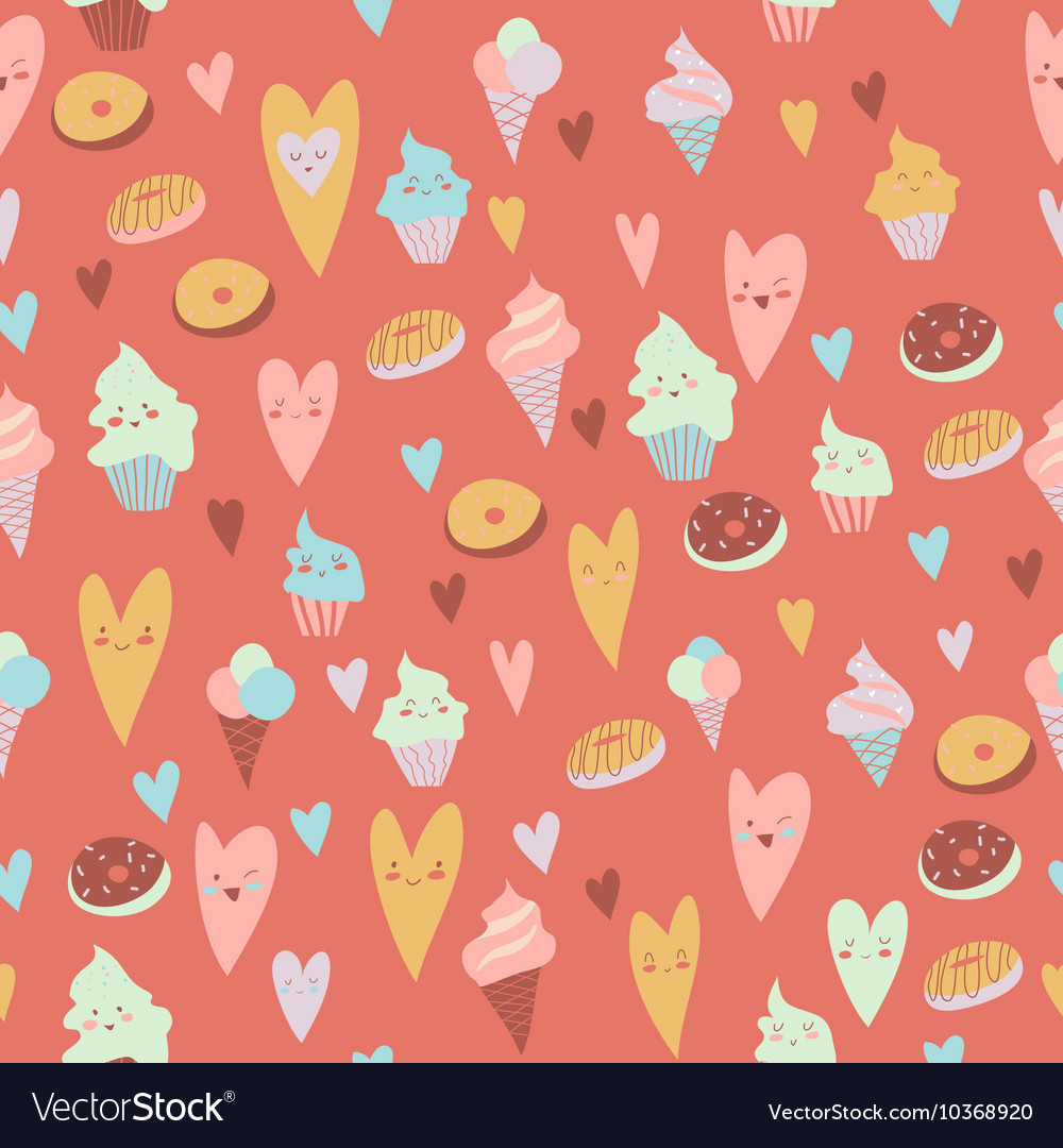 Beautiful seamless pattern of sweets on gray