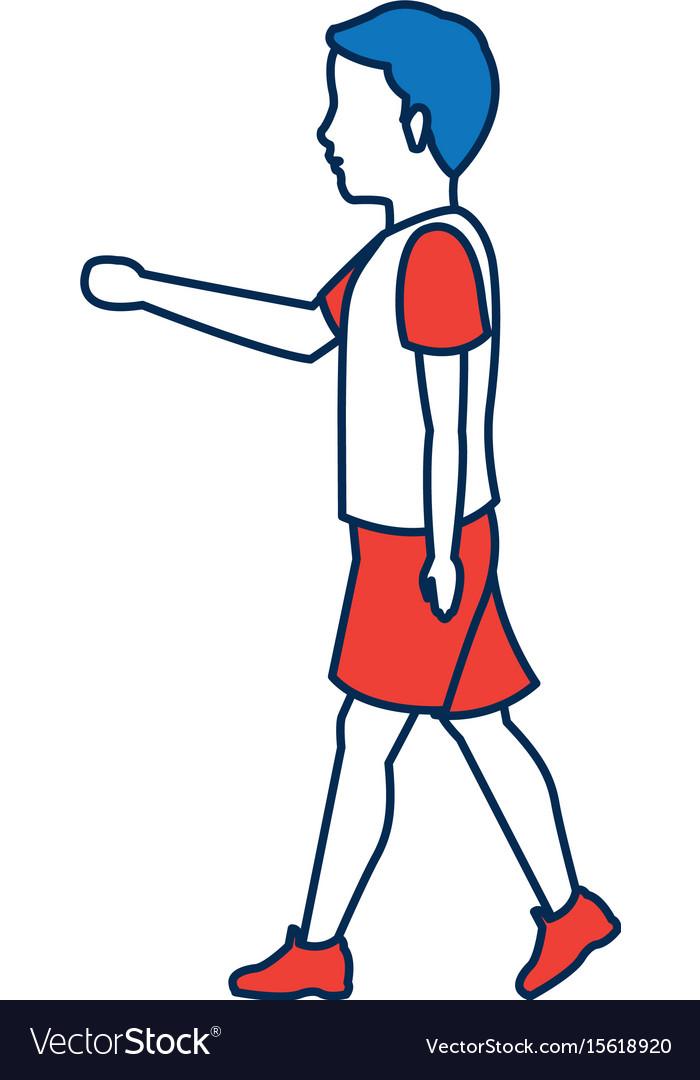 bluehair teenager boy walking cartoon side view vector image