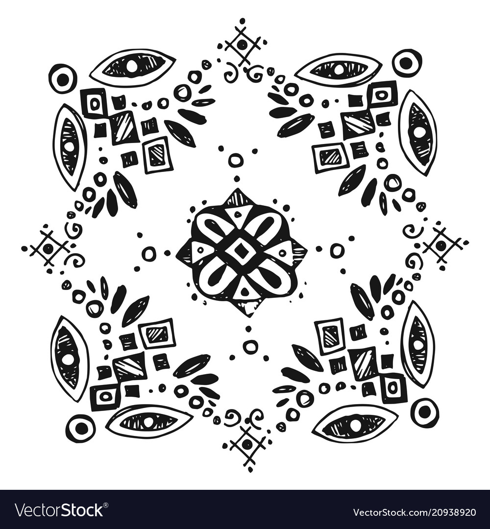 Boho style graphic elements beautiful hand drawn