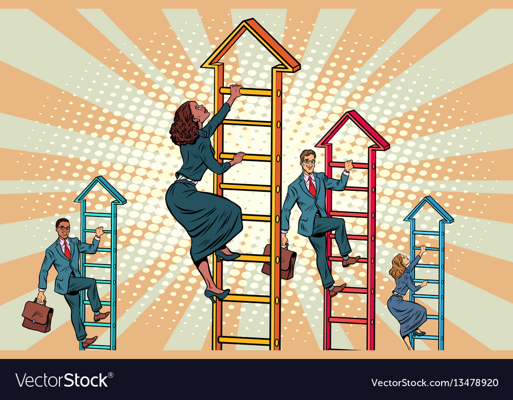 Business team climbs up the stairs