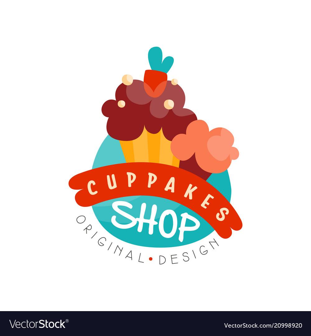 Cupcake shop logo design template bakery and