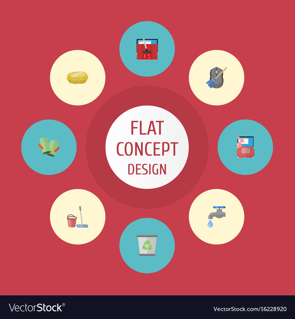 Flat icons sponge carpet vacuuming faucet and vector image