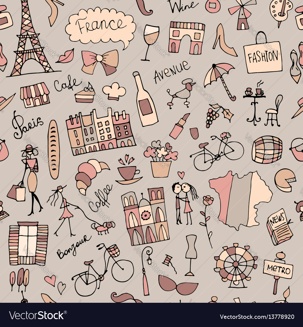 France sketch seamless pattern for your design