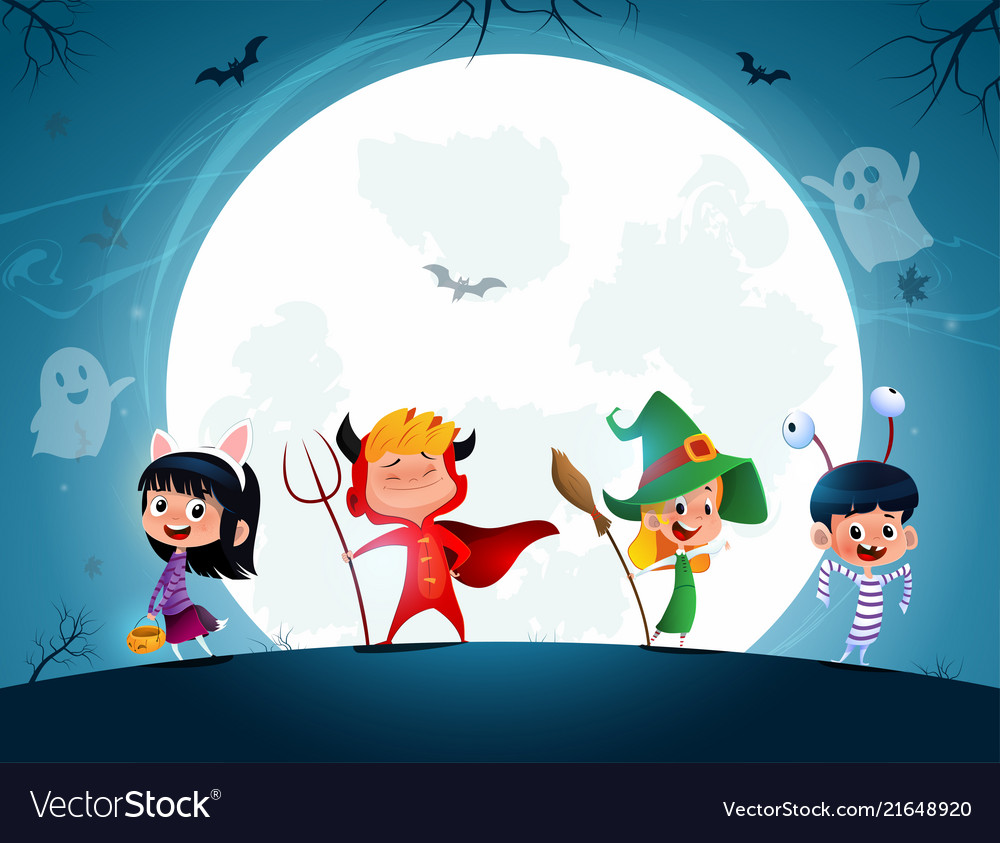 Group of cartoon kids in halloween in the