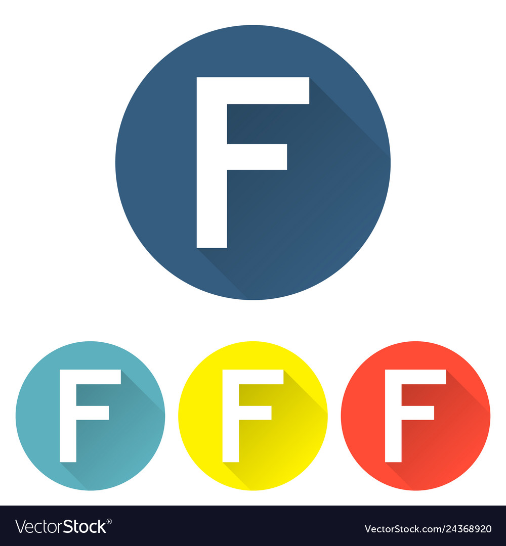 Letter f in a flat on colored backgrounds