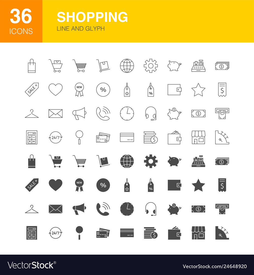 Shopping line web glyph icons