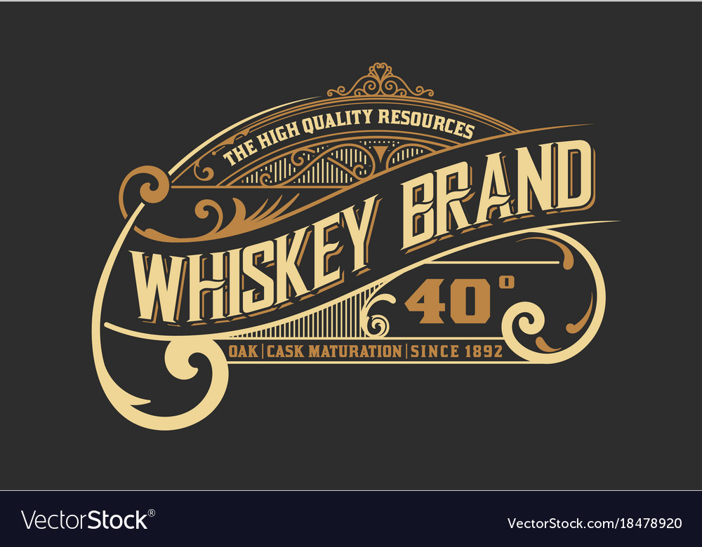 vintage old design whiskey label style royalty free vector
