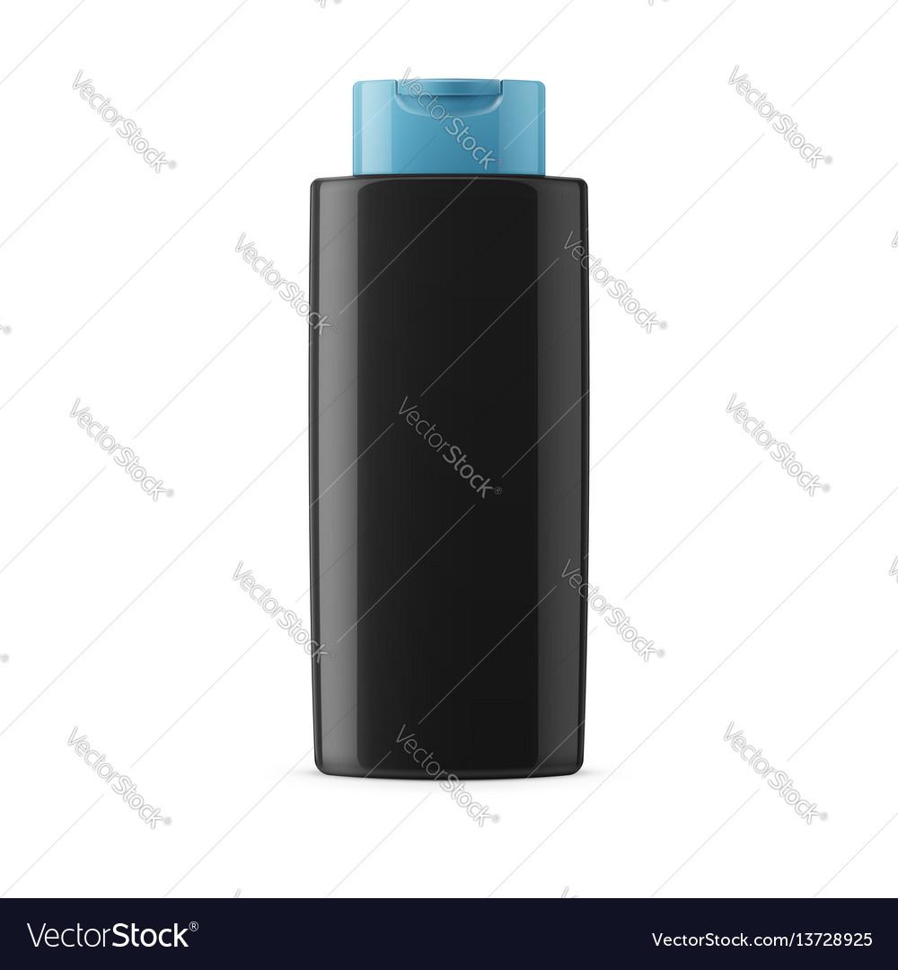 Black glossy shampoo bottle template vector image