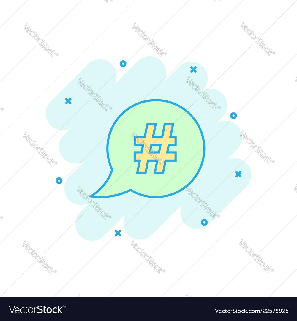 Cartoon hashtag icon in comic style social media