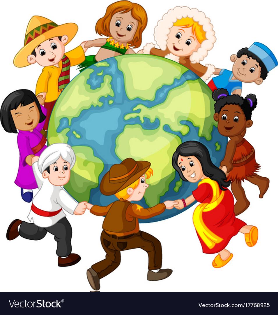 Children holding hands around world Royalty Free Vector