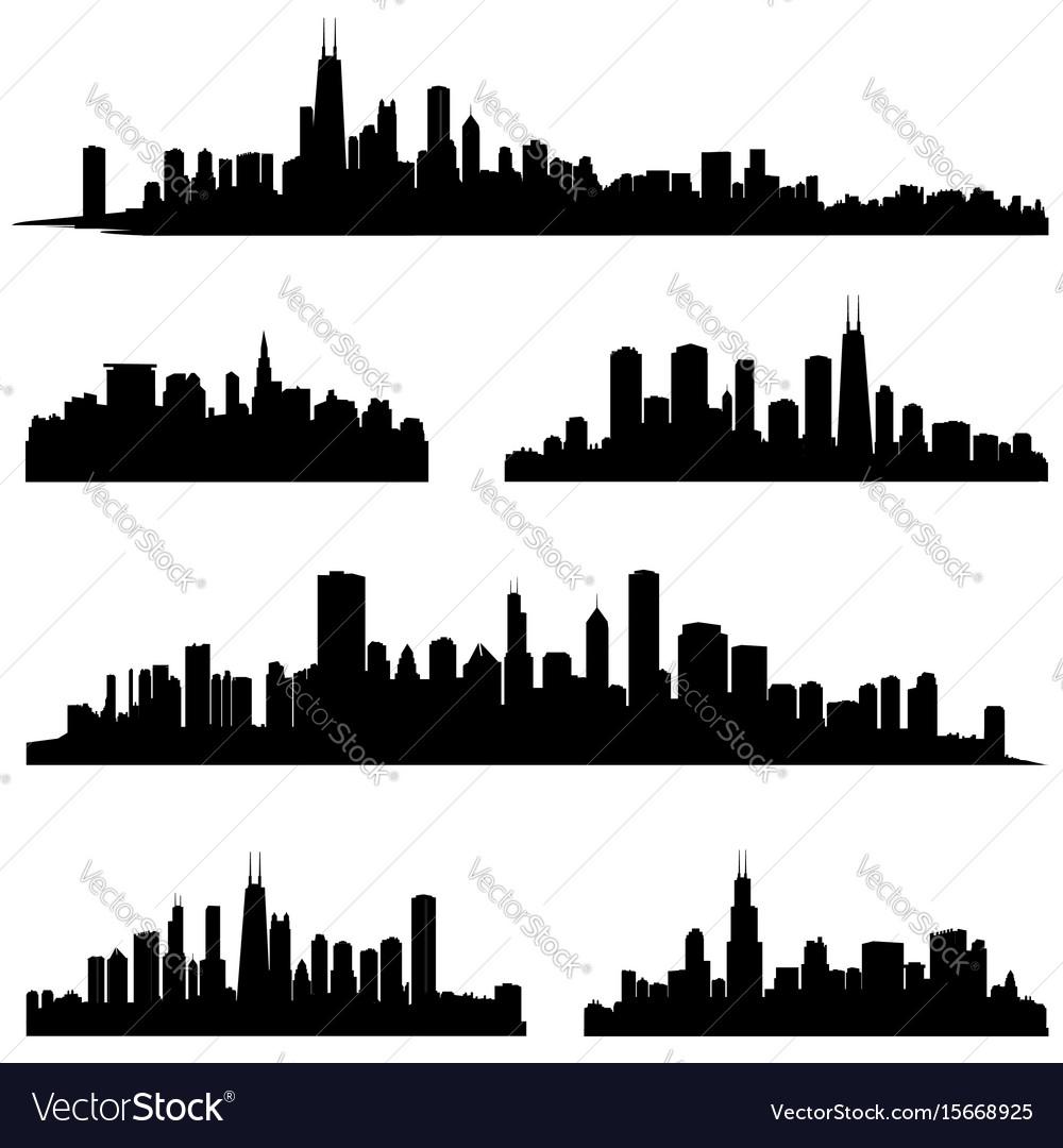 City silhouette set panorama background skyline