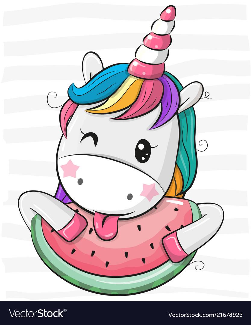 Cute cartoon unicorn with watermelon Royalty Free Vector