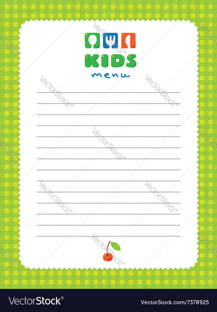 design template background for kids menu vector image