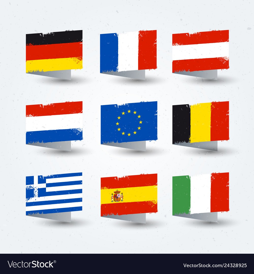 European countries flags texture icons set