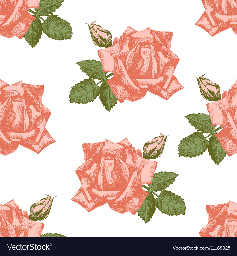 Hand drawn roses seamless