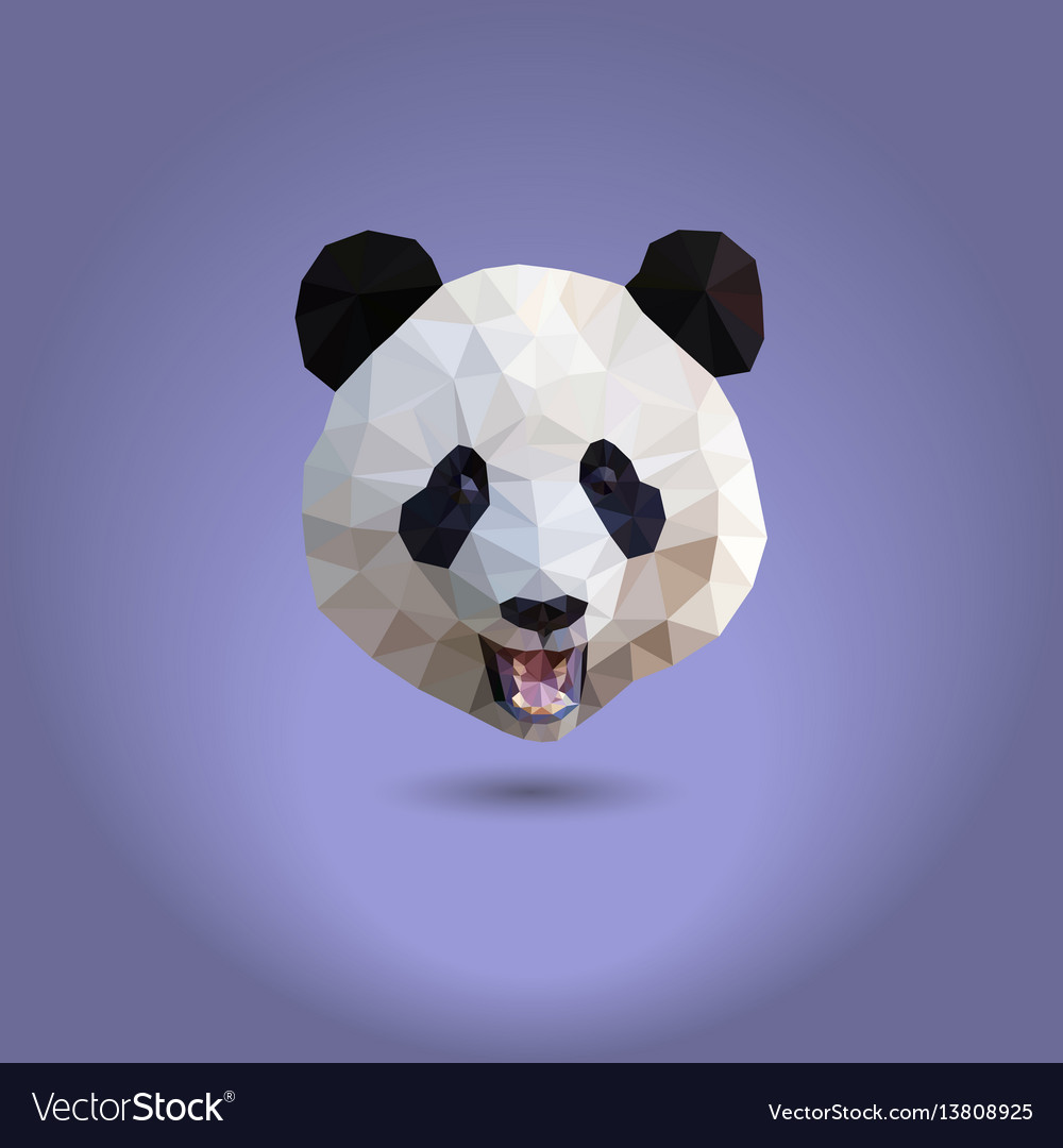 Low poly panda the head of a chinese bear from