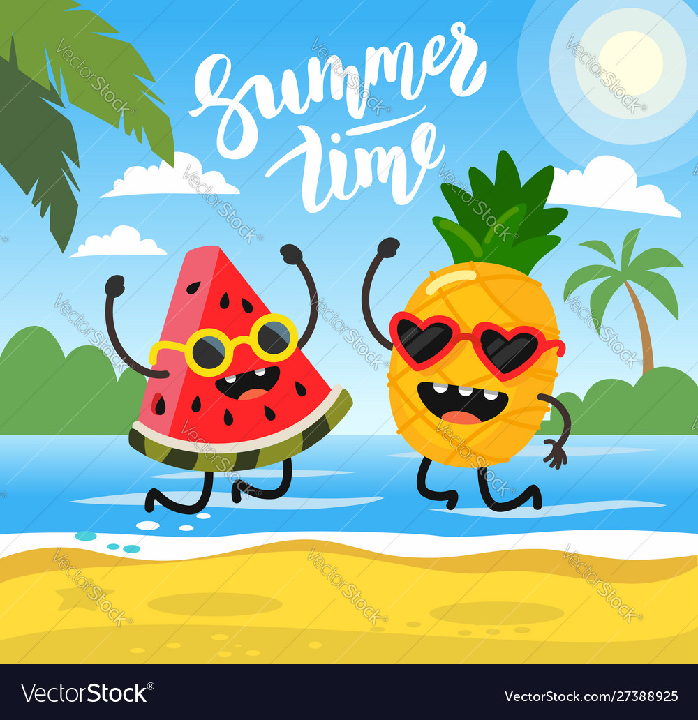 Pineapple and watermelon lie on beach