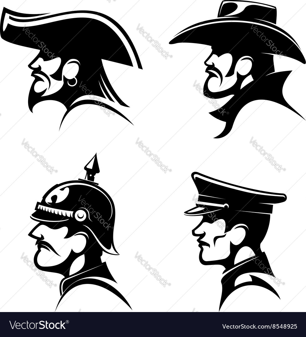 Pirate cowboy prussian general german soldier vector image