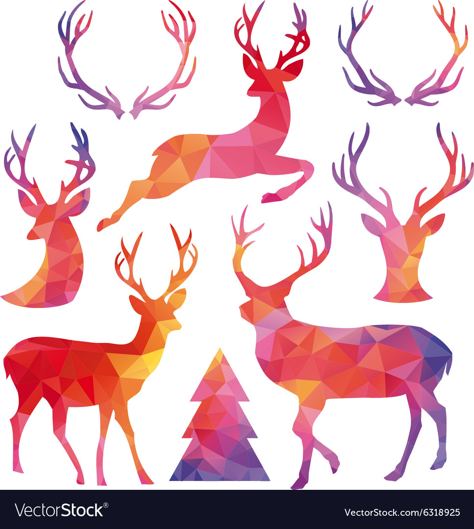 Polygon Christmas deer set