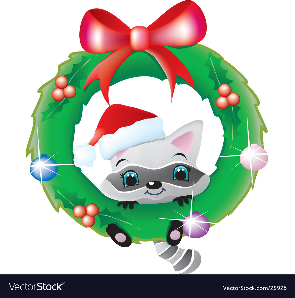 Raccoon in a christmas wreath vector image
