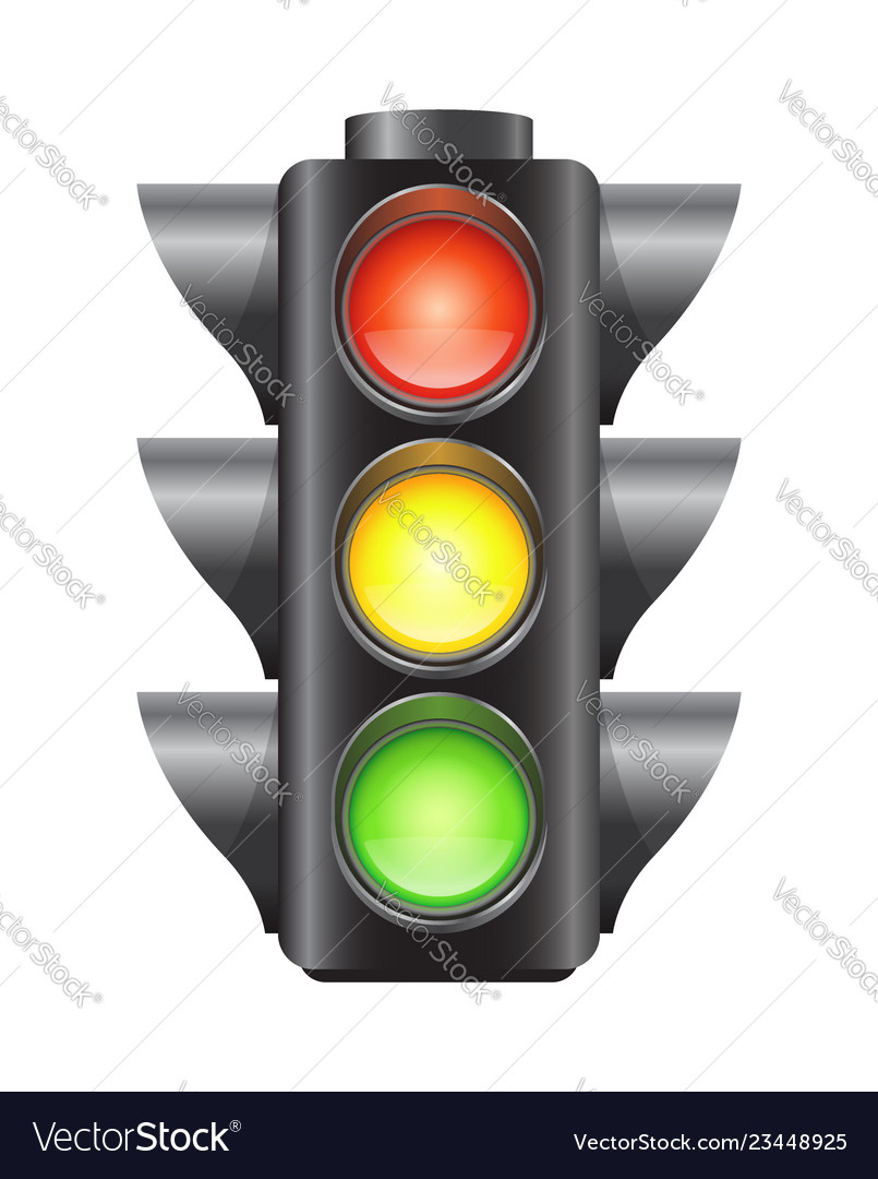 Realistic traffic lights for cars isolated