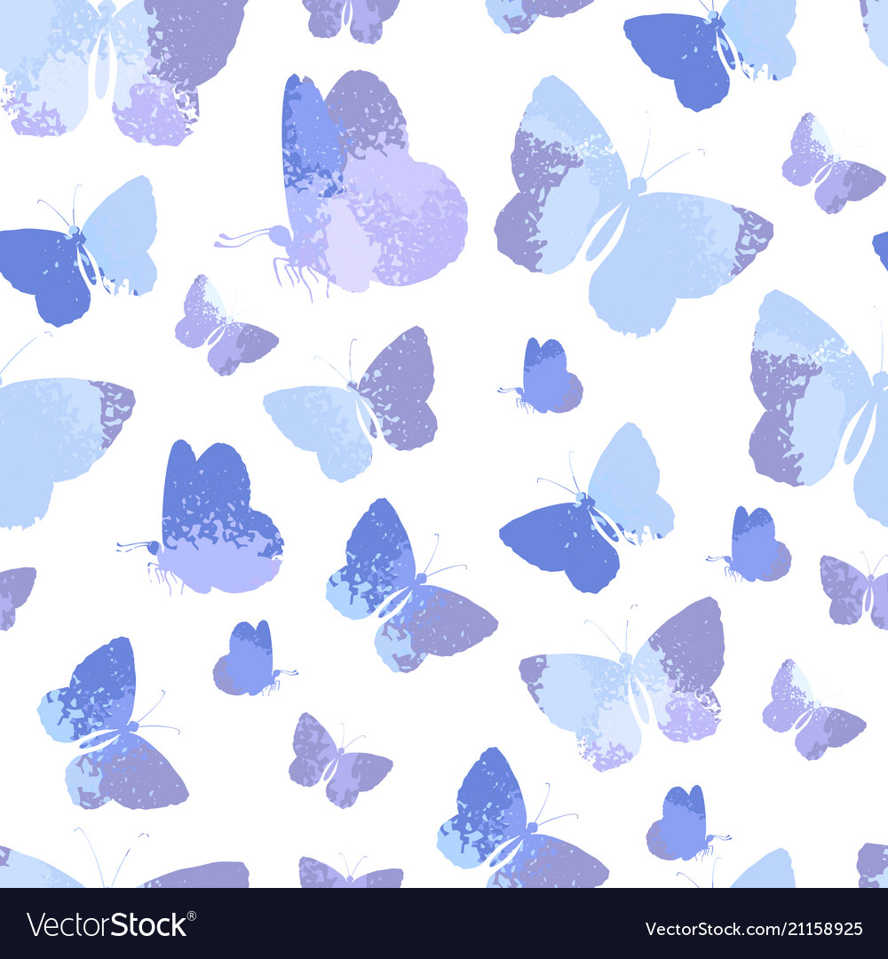 Seamless pattern with blue silhouettes watercolor