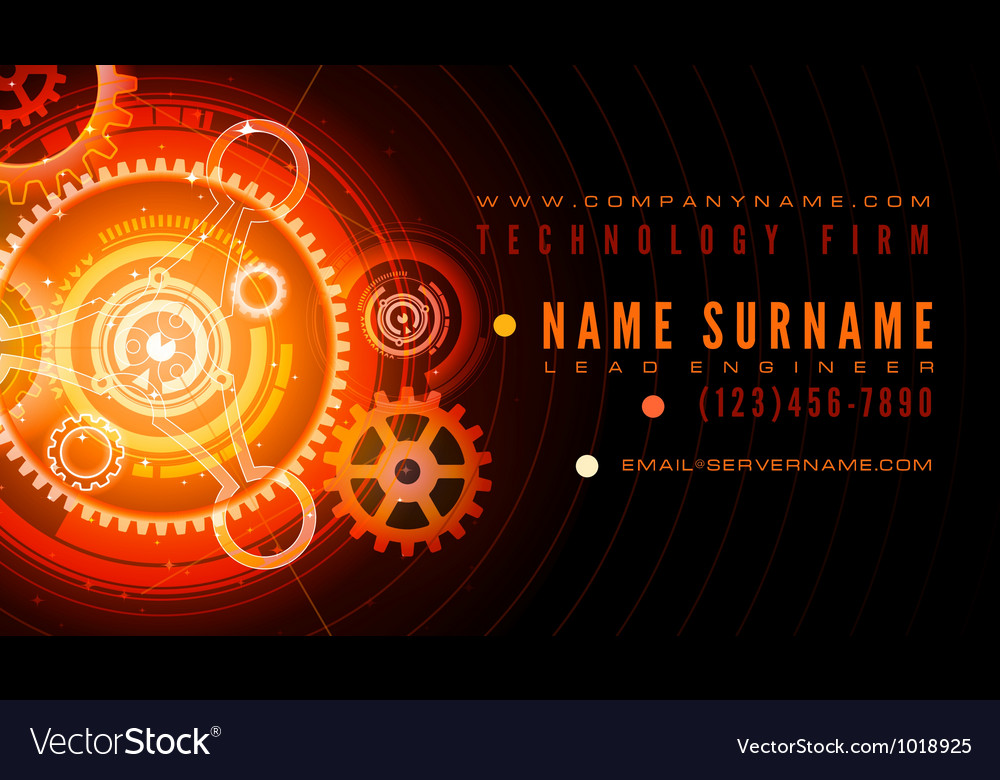 Technology engineer business card template vector image flashek