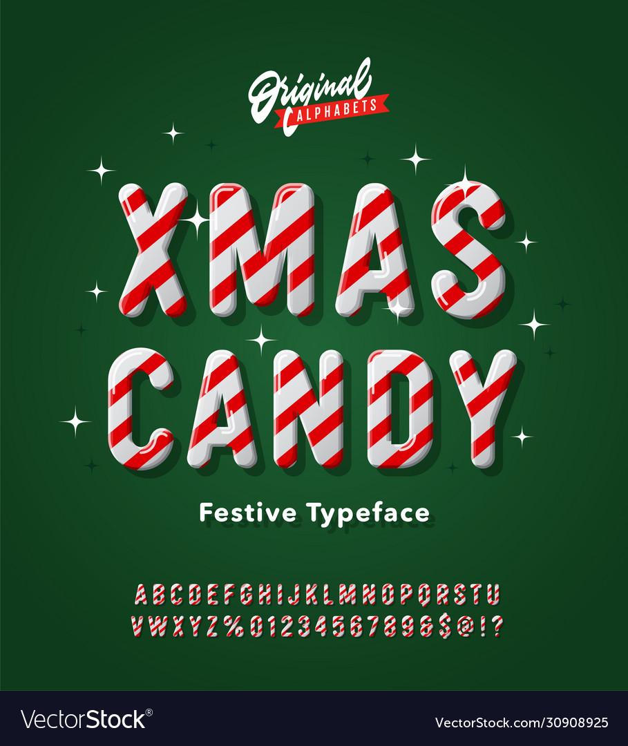 Vintage striped christmas candy cane alphabet